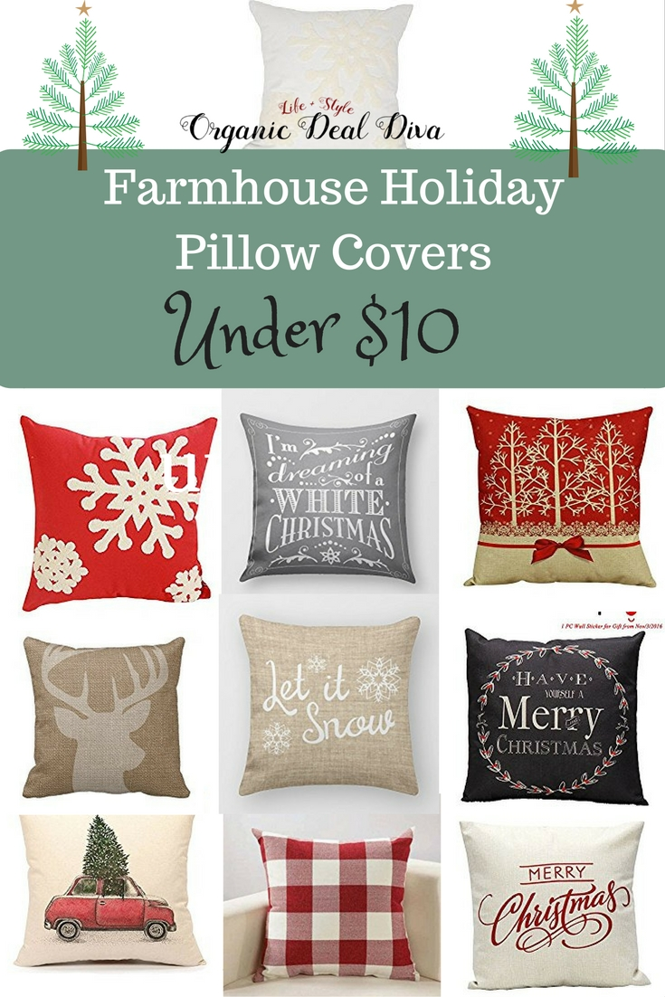 Farmhouse Holiday Pillow Covers under $10 Organic Deal Diva